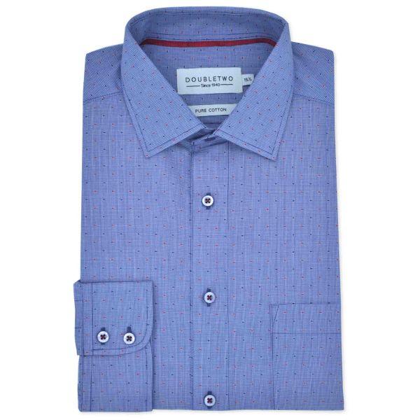 Navy Patterned Long Sleeve Formal Shirt