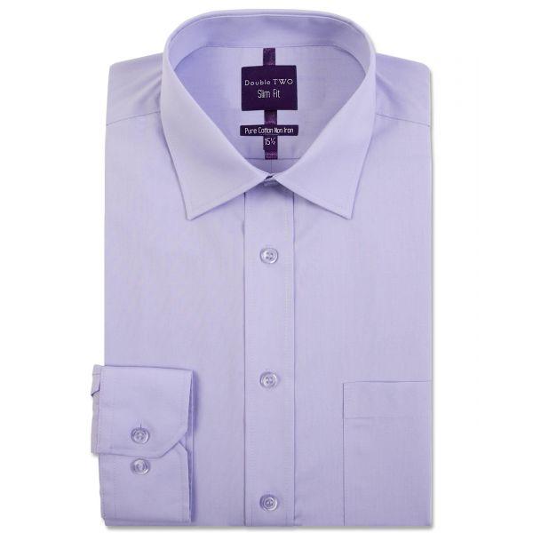 Slim Fit Mauve Long Sleeve Non-Iron Shirt